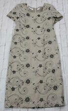 Liz Claiborne Dress Womens Size 14 Petite 14P Tan Linen Embroidered Floral Long