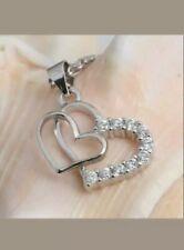 1.20 Ct Round Cut VVS1 Diamond Double Heart Pendant Necklace 14K White Gold Over
