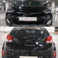 Matte Black Color H Logo F/R Emblems Set For 2010-2015 Hyundai Veloster