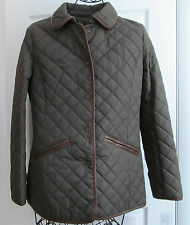 LAUREN RALPH LAUREN New Quilted Faux Leather Trim Jacket Green size S