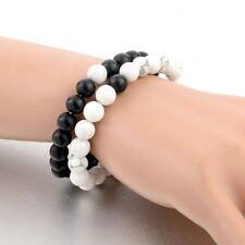 Couples Bracelets Yin Yang White & Black Howlite Beaded Bracelet His & Hers Gift