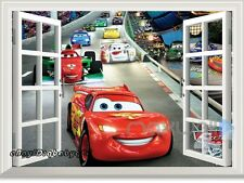 Disney Cars McQueen Racing Car 3D Window Wall Sticker Removable Kids Decals Art