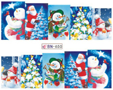 Nail Art Stickers Decals Transfer Christmas Xmas Snowmen Snow (BN650)