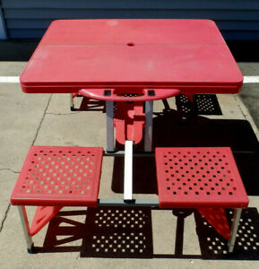 Vintage Academy Red Folding Suitcase Style Picnic Table Camping Beach