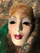 Handpainted  Signed Porcelain Mardi Gras Mask Gold Ornate Design
