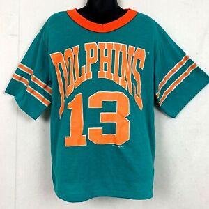 Vtg 1994 Miami Dolphins Ringer Tee T Shirt 13 Dan Marino Teal Orange NFL Kids 10