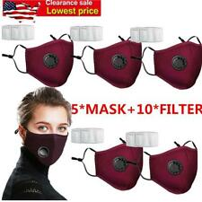 5Pcs Red Reusable Air Purifying Face Filter Mask Face Cover Haze Fog Mouth Masks