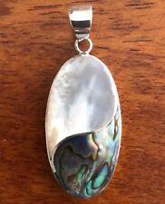 Earthwear Fine Jewelry Abalone Sterling Silver Oval S-Design Pendant