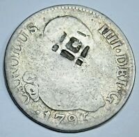 1795 Trinidad Lattice Countermark Spanish 2 Reales Colonial Two Bits Pirate Coin