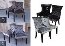 Pair of Velvet Button Effect Dining Chairs  Chrome Knocker Crushed Velvet Occ...