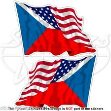USA United States America-CZECH REPUBLIC & American Flying Flag 75mm Stickers x2