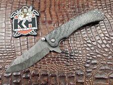 WDZ Knives Azrael Custom Folding Flipper Knife Damascus / CF / Titanium
