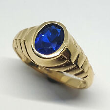 14K solid yellow gold stunning Sapphire oval shape men's 9x7mm ring size 10