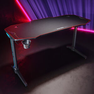 Gaming Tisch Computertisch für Gamer LED mit Mauspad Schwarz Großer Oberfläche