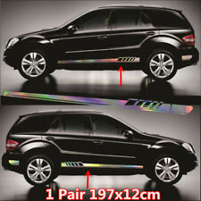 Car Body Both Side Graphics Decal Laser Reflective Vinyl Long Stripe Sticker X2