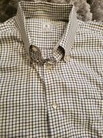 Peter Millar Mens Button Down Long Sleeve Shirt Blue Plaid Size Large EUC