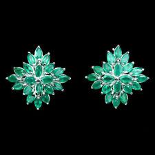 Sterling Silver Genuine Natural Green Aventurine Cluster Earrings