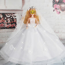 """White Handmade Wedding Dresses Gown Clothes For 11"""" Barbie Dolls Girls"""