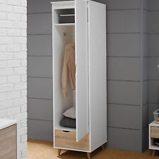 Nordic Single Wardrobe / 1 Door Slim Robe / White & Oak Bedroom Furniture