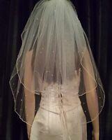"""Hidden Mickeys Disney Inspired Ivory veil with Swarovski crystals 25""""/30"""" 2 tier"""