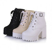 Womens chunky heel platform lace-up punk goth creeper ankle boots shoes Causal
