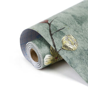 10m Dark Green Self Adhesive Wallpaper Vines Flower Contact Paper Bedroom Decor
