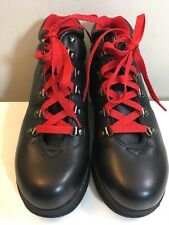 Women's Vintage Bass Daria Black Leather Hiking Boots Red Laces Size 8M