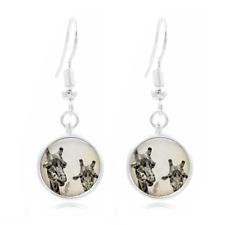 Giraffe Art Photo Tibet Silver Dome Photo 16MM Glass Cabochon Long Earrings #158