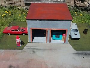 OAAK Hand Made Wood Stucco 1/24 1/25 G Scale Garage Diorama Starter For Your Car