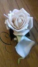Wedding flowers White/Ivory Calla Lily & champagne rose corsage pearls,satin bow