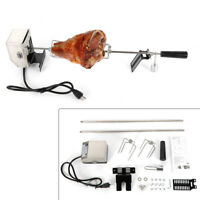 Electric Stainless Steel Goat Pig Chicken BBQ Spit Rotisserie Grill Motor Rod US