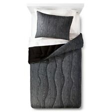 Pillowfort Faux Bois Comforter Set Twin Black 2pc - Zig Zag Gray