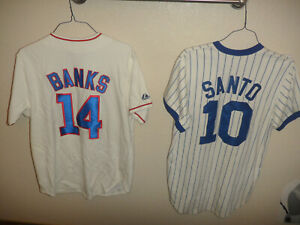 Ron Santo & Ernie Banks Chicago Cubs Majestic Cooperstown Baseball Jerseys