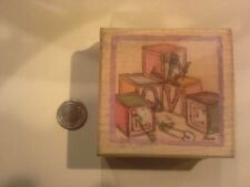 Love baby blocks wood mounted Rubber stamp - some discoloration