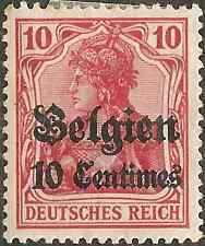 MH WW1 BELGIUM 1914 GERMANY 10 pf / 10 Centimes Overprint STAMP Occupation RED