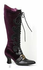 Purple Velvet Witch Maleficent Victorian Costume Lace Boots Womans size 7 8 9 10