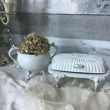 White Painted Vintage Silver Plated VINTAGE SET Shabby Cottage French Country