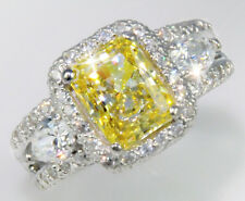 2.5 ct Radiant Canary Ring Top AAAAA CZ Imitation Moissanite Simulant SS Size 11