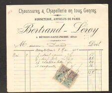 "BETHISY-SAINT-PIERRE (60) CHAUSSURES & CHAPELLERIE ""BERTRAND & LEROY"" en 1923"