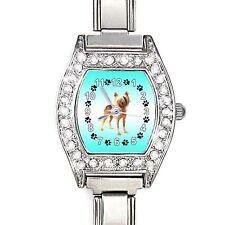 Bedlington Terrier CZ Ladies Stainless Steel Italian Charms Wrist Watch BJ1150