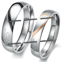 UNIQUE LOVE HEART RINGS SET ROMANTIC VALENTINES XMAS GIFT FOR HER HIM COUPLES
