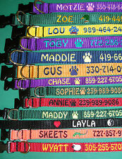 Embroidered personalized dog collars with name, etc.