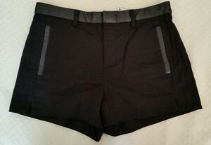 Madewell Womens $158 Leather Trim Short #03869 black size 0 flat front sold out