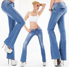 Jeans donna pantalone elasticizzato BOOTCUT BLU chiaro skinny slim zampa nuovo #