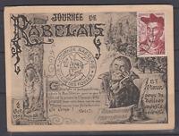 CARTE MAXIMUM JOURNEE DE RABELAIS OCTOBRE 1950 SAINT MAUR DES FOSSES