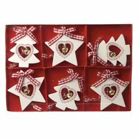 Set of 6 Red & White Wood Nordic Star & Tree Christmas Tree Decorations 6x5cm