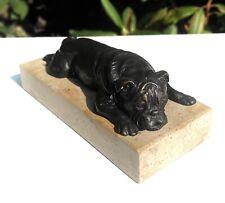 More details for solid bronze signed marble based lying bull dog bulldog figure sculpture