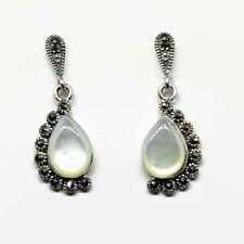Half Halo Teardrop Dangle Earring Marcasite & Mother of Pearl In Sterling Silver
