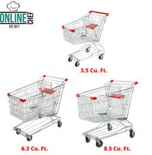 Silver Metal Supermarket Grocery Carts Rolling Shopping Baskets Swivel Wheels