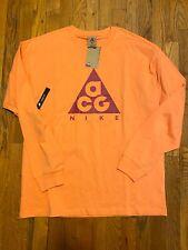 Nike Acg Long Sleeve Logo T Shirt Bq3457 892 Orange Trance/Sport Fuchsia Size S